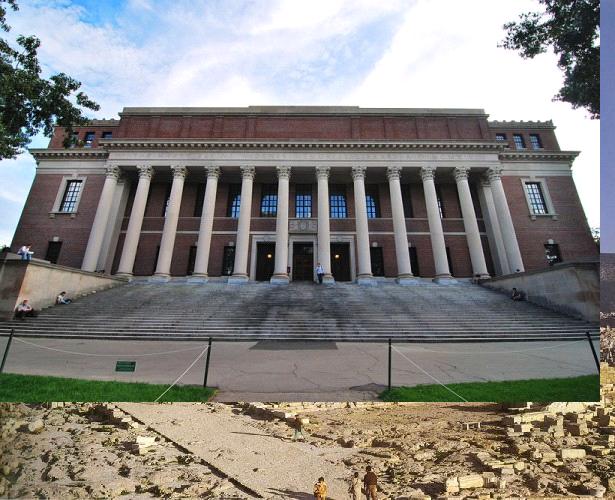 怀德纳图书馆是美国哈佛大学图书馆体系的核心建筑图片